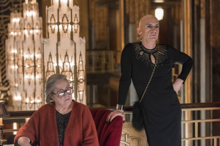"AMERICAN HORROR STORY -- ""Be Our Guest"" Episode 512 (Airs Wednesday, January 13, 10:00 pm/ep) Pictured: (l-r) Kathy Bates as Iris, Denis O'Hare as Liz. CR: Prashant Gupta/FX"
